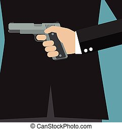 Businessman holding a gun behind his back. Business concept