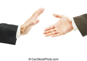 Man refuses from offer of friendship. Concept of conflict...