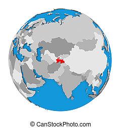 Tajikistan on globe - Map of Tajikistan highlighted in red...