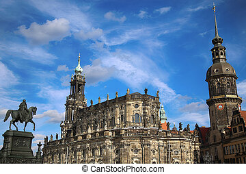 Dresden, Germany - Theaterplatz, Saxony Dresden Castle and...