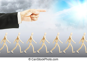 People walking to happy future. Concept of full...