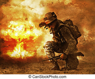 soldier turning to mushroom cloud - US soldier in the desert...