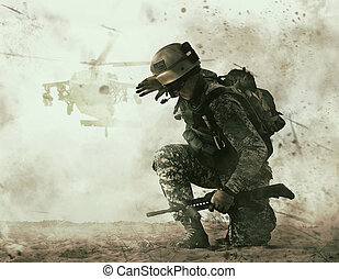 US soldier and combat helicopter approaching - US soldier in...