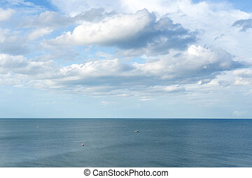 Top view cloud scape and ocean with fishing boat in Thailand