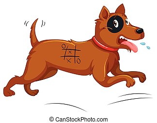 Dog with painted body running away illustration