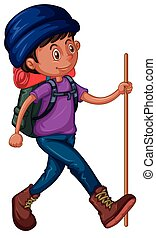 Man with backpack and walking stick illustration