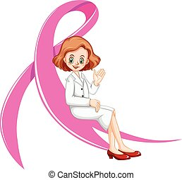 Female doctor and pink ribbon