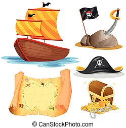 Sailboat and other pirate elements illustration