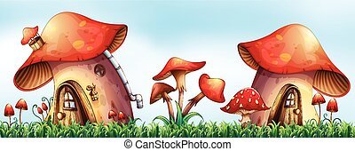 Mushroom houses in the garden