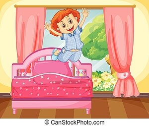 Little girl jumping on the bed illustration