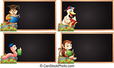 Board template with animals reading book illustration