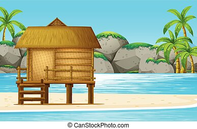 Wooden hut on the beach illustration