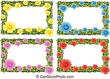 Four frame design with colorful flowers illustration