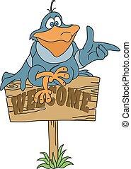 Bird on the waymark - Illustration of the Bird on the...