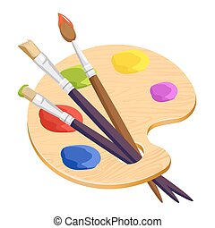 Isolated artist palette with three long different brushes...