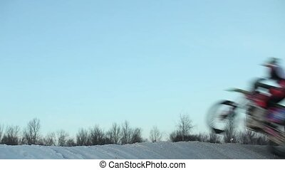motocross race high jumps - motocross high jumps in winter