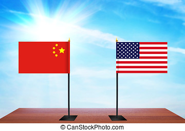 Concept of diplomatic talks between United States and China