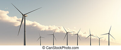 Wind power - Computer generated 3D illustration with wind...