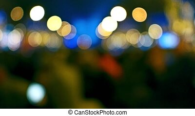 Defocused decorated Champs-Elysees street and illuminated...