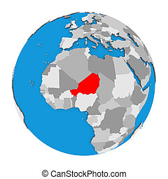 Niger on globe - Map of Niger highlighted in red on globe....