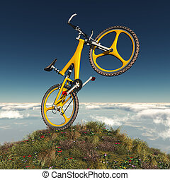 Mountain bike on a mountain - Computer generated 3D...