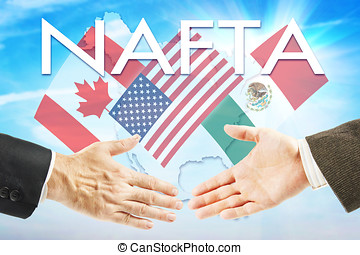 Concept of NAFTA. United States Canada Mexico trading...