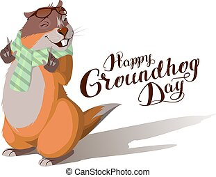 Happy Groundhog Day. Marmot casts shadow. Lettering text for...