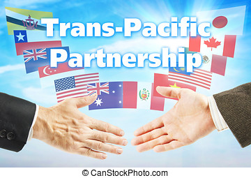 Concept of TPP. Trans Pacific Partnership trading...
