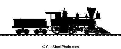 Silhouette of an American steam locomotive from the 1850s -...