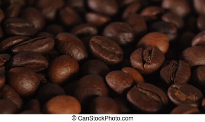Close up of grain coffee - Grain coffee on pile, brown...