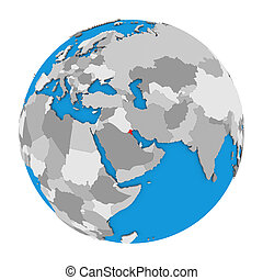 Kuwait on globe - Map of Kuwait highlighted in red on globe....