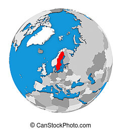 Sweden on globe - Map of Sweden highlighted in red on globe....