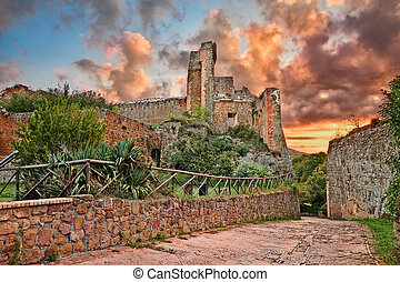 Sovana, Grosseto, Tuscany, Italy: the ancient fortress Rocca...
