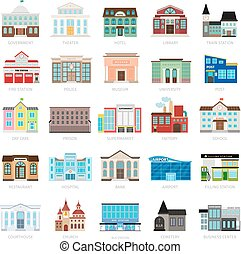Colored urban government building icons - Municipal library...