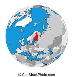 Finland on globe - Map of Finland highlighted in red on...
