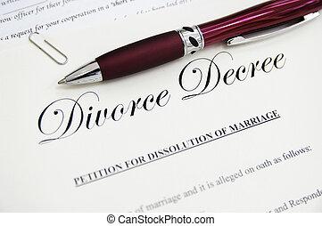 légal, divorce, papiers, stylo, closeup