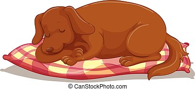Cute puppy sleeping on mattress illustration