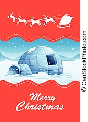 Christmas theme with igloo and reindeers illustration