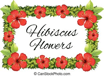 Red hibiscus flowers around the frame illustration