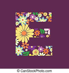 Letter of beautiful flowers E