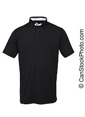 Black golf tee shirt with white collar for man