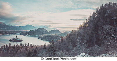 Panorama with lake Bled and the surroundings - Winter...