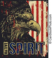 eagle in war bonnet. vector illustration - native American...