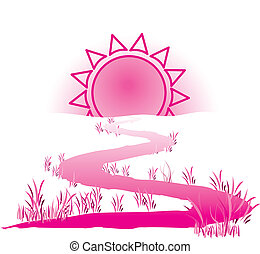 The way to the sun. Color bright decorative background...