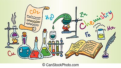 Chemistry Lab Color bright decorative background vector...