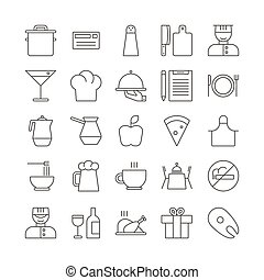 Icon set for restaurant in thin line style