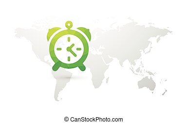 World map with green alarm clock