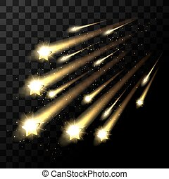 Vector falling stars on transparent background. Space star...