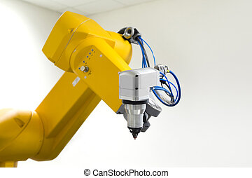laser cutting head on robotic arm