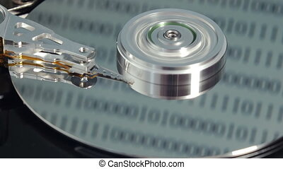Rotating hard disk drive - Read-write arm starts and ends...